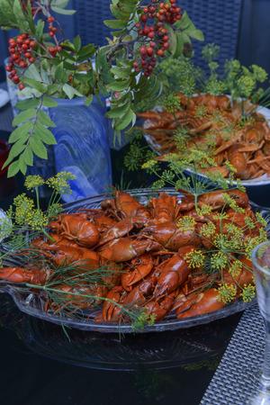 Kreeftenfeestje, Zweeds manier Stockfoto