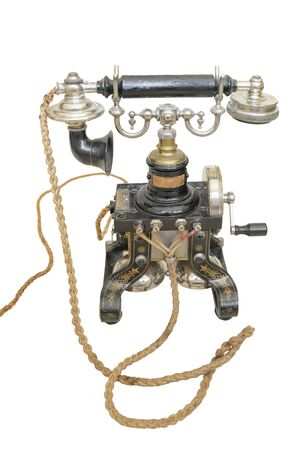 Oude telefoon geïsoleerd op witte achtergrond