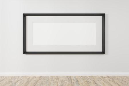 Vertical black frame mockup. Minimal black frame on concrete floor. Modern loft mock up 3d illustrations.