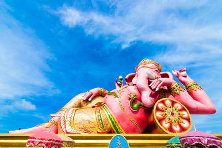 a righteous person: THE GREATEST PINK PIKANET  GANESHA RECLINE SITTING - HAPPINESS POSTURE  Statue at Wat Samarn Rattanaram at Chachoengsao Thailand Editorial