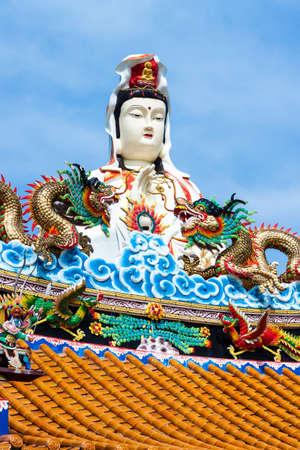quan yin: The Goddess of Mercy, known as Quan Yin or Guan Yin or Guan Yim, at Wat Saman Rattanaram, Chachoengsao, THAILAND Editorial