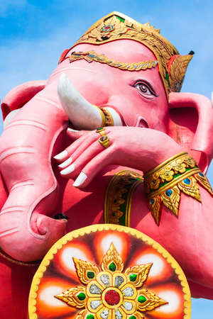 a righteous person: THE GREATEST PINK PIKANET  GANESHA RECLINE SITTING - HAPPINESS POSTURE  Statue at Wat Samarn Rattanaram at Chachoengsao Thailand Stock Photo