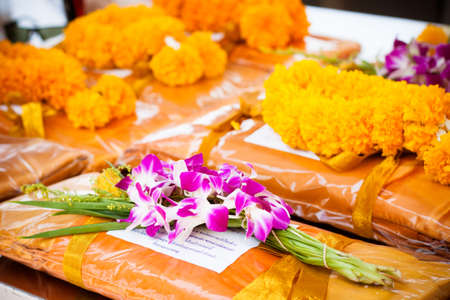offering dedicated to Buddhist monks flower and clothes set
