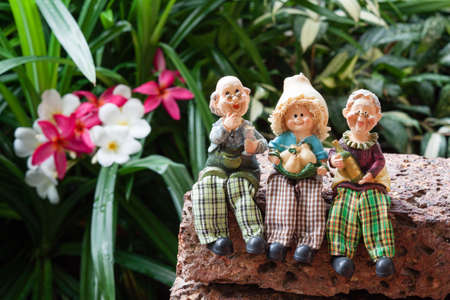 grand sons: lovely grandparents with child ceramic dolls