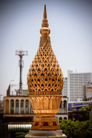 wat traimit: thai traditional style golden lotus tray with pedestal sculpture at Wat Traimit (Temple of golden Buddha)