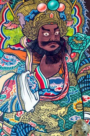 Zhang Fei deva paint fine art on the door of chinese temple in Thailand