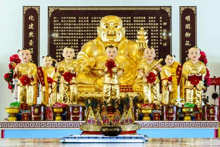 gautama buddha: Chachoengsao, Thailand - September 16: Sculpture of Golden Gautama Buddha or Katyayana or Kasennen at Sawang Satthatham Foundation, on September 16,2015 in Chachoengsao, Thailand.
