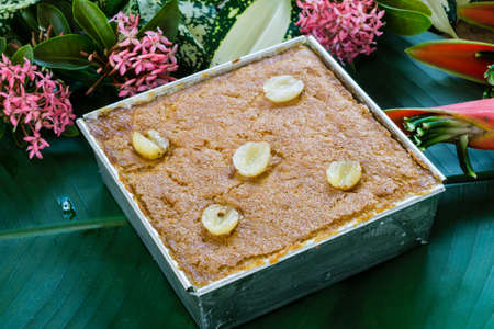 kaeng: Mung Bean Thai Custard Dessert Recipe or Khanom Maw Kaeng Stock Photo