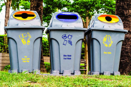 public waste: Recycle Bins For Collection Of Recycle Materials in the Public Park in Bangkok Thailand