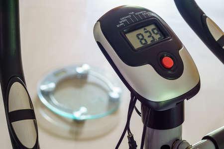 metering: Fitness bicycle focused on its metering control panel.
