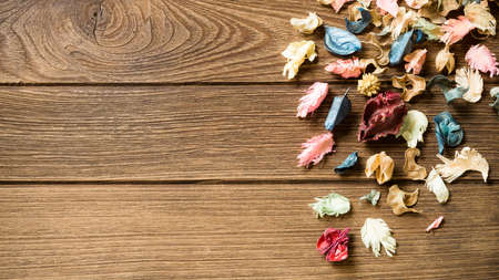 gory: aromatherapy potpourri mix of dried aromatic flowers on wooden background with copy space Stock Photo