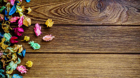 potpourri: aromatherapy potpourri mix of dried aromatic flowers on wooden background with copy space Stock Photo