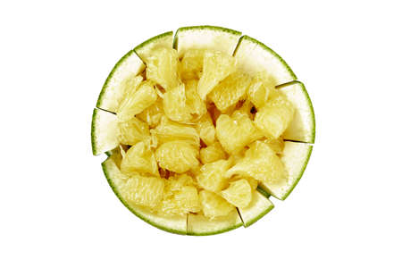 Pomelo or grapefruit on White background. Fresh and tasty tropical fruit.