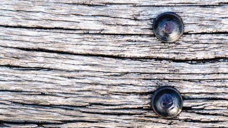 Old railroad ties with Large nail texture background Stock Photo