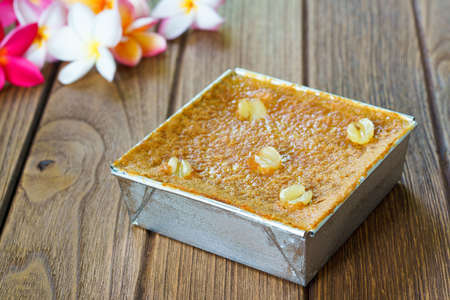 kaeng: Thai Dessert Menu on wooden background. Mung Bean Thai Custard Dessert Recipe or Khanom Maw Kaeng Stock Photo