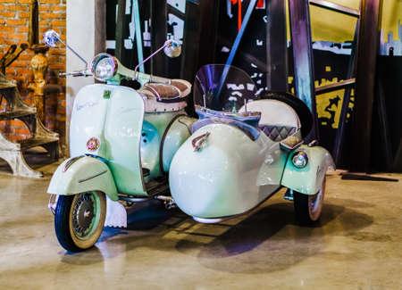 Bangkok , Thailand - May 07, 2017: Piaggio Vespa vintage sprint motor scooter motorbike motorcycle 50 special display at Baan Bangkhen coffee shop, Bangkok, Thailand.