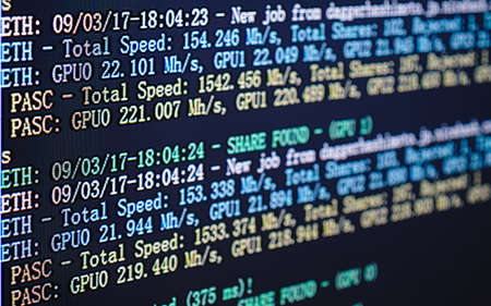 Screen display of cryptocurrency mining (Dual mining Ethereum or Ethash and Pascal cryptocurrency mining) by using the GPUs