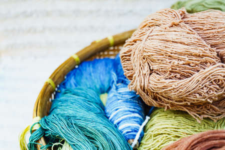 Silk thread raw material for silk weaving by nature colour Stock Photo