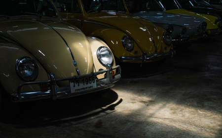 NAKHON PATHOM, THAILAND - AUGUST 19, 2018 : Volkswagen Beatle retro vintage classic old cars display at Jesada Technik Museum is the biggest classic vintage retro old vehicle museum in Thailand