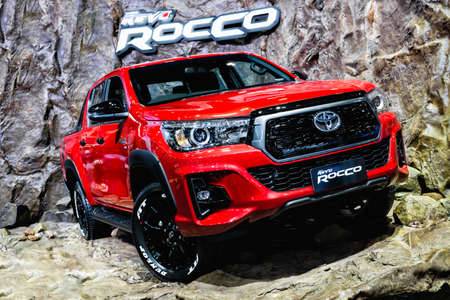 Bangkok, Thailand -December 5, 2017: TOYOTA HILUX REVO Rocco Sport display at Thailand International Motor Show