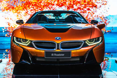 Bangkok, Thailand - March 31, 2019: BMW i8 Roadster is on display at BANGKOK INTERNATIONAL MOTOR SHOW 2019. Editorial