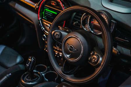 Bangkok, Thailand - March 31, 2019: Interior  and Multifunction control wheel of the New Mini Cooper S Convertible Sajtókép