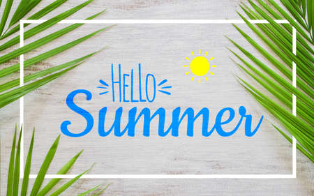 Hello summer travel vacation concept flat lay poster background concept. Hello Summer text on white wood background with green nature tropical palm leaf. Banco de Imagens