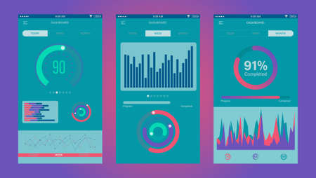 Admin Dashboard UI mobile app. Mobile app infographic template with daily, weekly and monthly statistics graphs. Concept mobile app for IT system and network admin web design, UI elements. Vectores