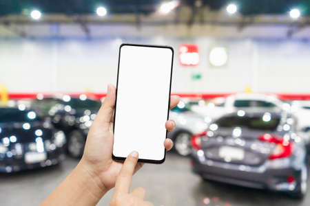 Mockup blank screen mobile phone for app or web site mockup promotion. Ideal for auto dealership, automobile service online, smart car concept, Car shopping online. Stok Fotoğraf