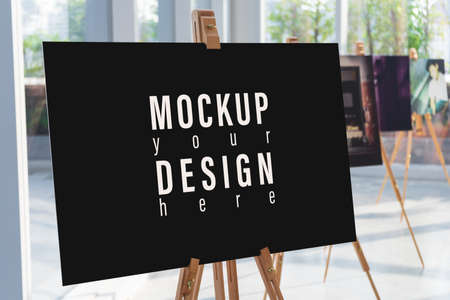 Mockup picture or photo canvas frame with blur picture gallery background for your advertisement