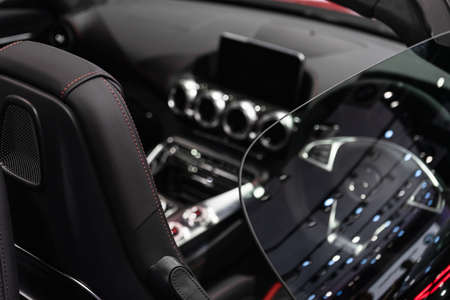 Selective focus of luxuary super car Interior Design for background. Supercar sport car background concept. Stock Photo