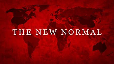 The New Normal lettering on grunge world map 版權商用圖片