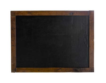 Old grunge blank black chalkboard with old wood frame isolated on white background. Rustic slate with copy space.