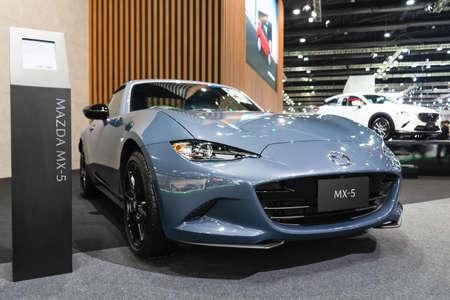 BANGKOK - MARCH 29, 2021 : The Mazda MX-5 car on display at Bangkok International Motor Show in Bangkok, Thailand. The fourth generation of Mazda MX5.