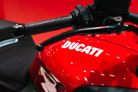 BANGKOK, THAILAND - 2021 April 01: Close up DUCATI emblem and logos at the motorcycle body. Selective focus, shallow dept of field. DUCATI is one of the famous motorcycle manufactures from Italy.