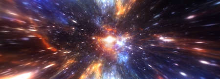 Abstract hyperspace tunnel through space time vortex. 3D illustration Sci-Fi interstellar travel through wormhole in hyperspace. 3D rendering Teleportation velocity jump in cyberspace panorama banner.