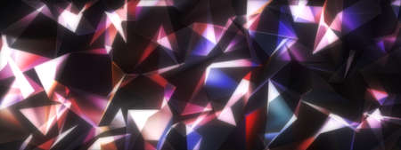 Abstract 3D Illustration Glow Multicolored Polygon Canvas for Business Technology Background. 3D rendering Flow Mosaic Digital Cyberspace for Hi-tech, science communications, Data Array, web banner. Standard-Bild