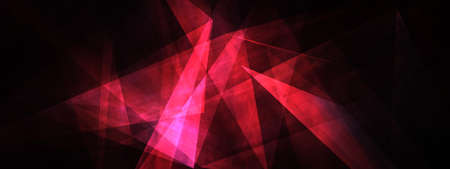 Abstract background with 3D illustration polygon geometric. Glow Purple Red abstract modern presentation on black background with copy space. 3D render business technology template for web design.