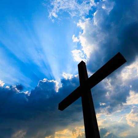 cross light: Cross silhouette and the holy blue sky