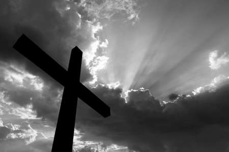 lord jesus: Cross silhouette and the holy  sky black and white Stock Photo
