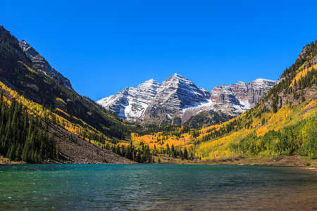 maroon: Maroon Bells, White River National Forest, Colorado Stock Photo