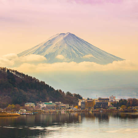 Mount Fuji at Kawakuchiko lake in Japan photo