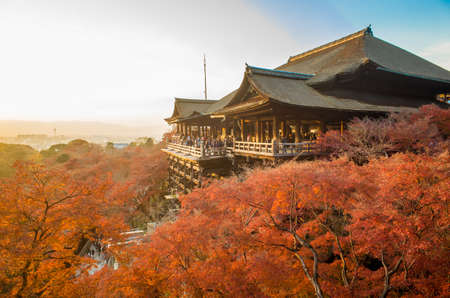 KYOTO - DECEMBER 5  Tourist observe the annual autumn colors at Kiyomizu-dera Temple December 5, 2013 in Kyoto, JP  Founded in the 700