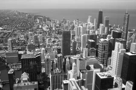 Aerial View of City Downtown black and white photo