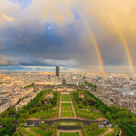 Aerial view of Paris architecture with rainbows from the Eiffel tower  photo