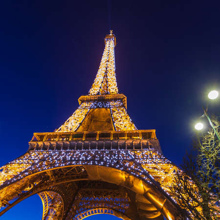 PARIS - SEPTEMBER 20  Light Performance Show on September 20, 2013 in Paris  The Eiffel Tower stands 324 metres  tall  Monument was built in 1889