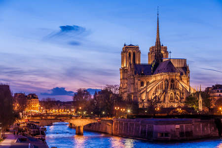 Notre Dame de Paris Cathedral at night  photo