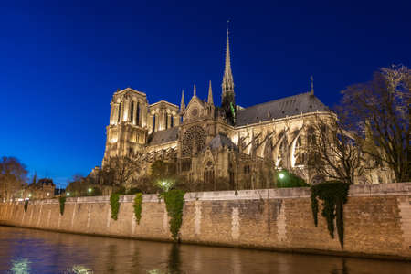 dam square: Notre Dame de Paris Cathedral at night