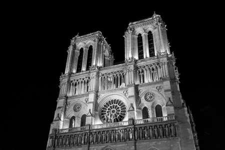 Notre Dame de Paris Cathedral at night in black and white  photo