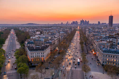 The famous Champs-Elysées in Paris from the top of the Arc De Triomphe at night Stock Photo - 24607968